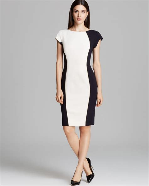 Color Block Sleeve White Dress escada dress sleeve color block illusion dress in