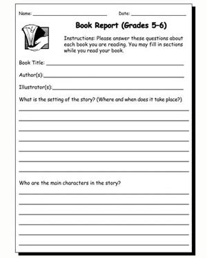 5th grade book report outline book report 5 6 printable book report worksheet