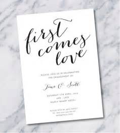 Simple elegant engagement party invitation in black and white