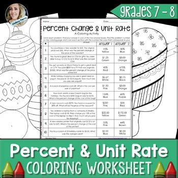 unit rate coloring page percent and unit rate coloring worksheet by lindsay perro