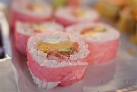 How To Make Sushi With Soy Paper - sushi wrapped in pink soy paper food