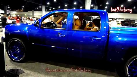 blue silverado truck on 26 quot forgiatos v103 car show hd