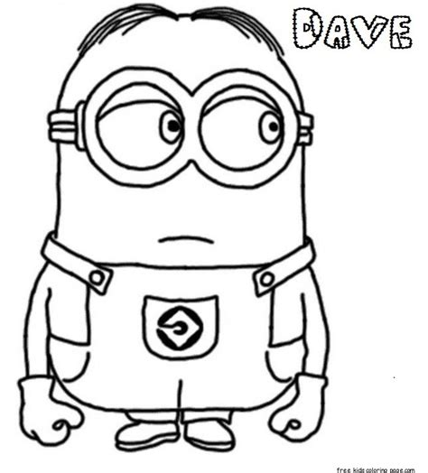 Print Out Dave The Minion Despicable Me 2 Coloring Three Minions Coloring Template