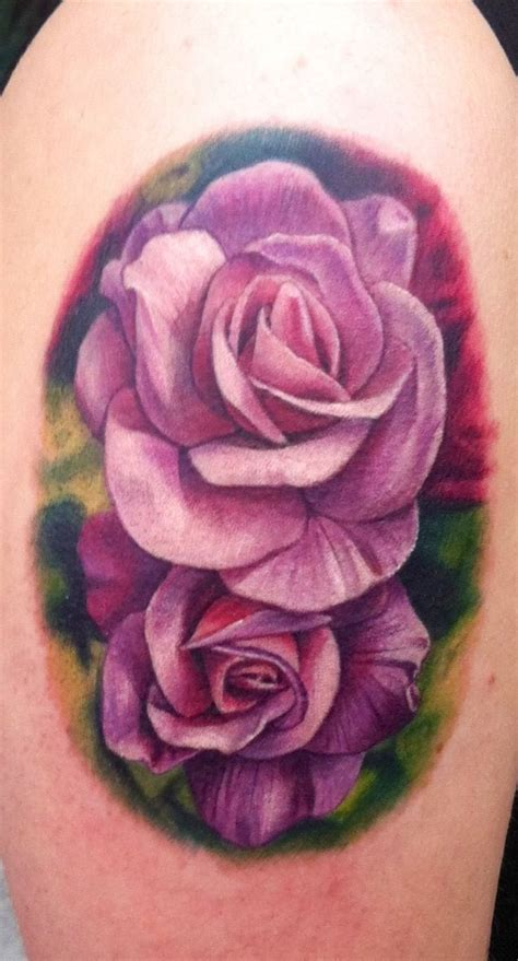two roses tattoo 33 awesome purple tattoos images pictures and ideas