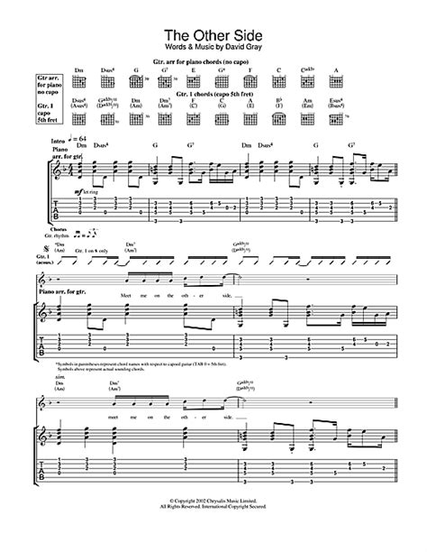 The Other Side Guitar Tab by David Gray (Guitar Tab – 23172)