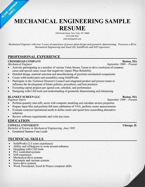 mechanical engineer resume exles mechanical engineering resume sle resumecompanion