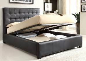 stylish leather high end platform bed with storage