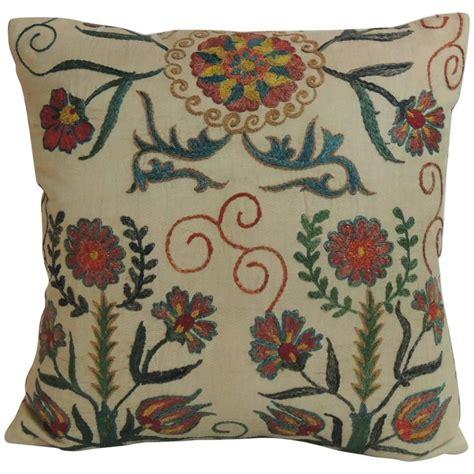uzbek suzani silk embroidery small flowers with vintage floral suzani embroidery silk decorative pillow