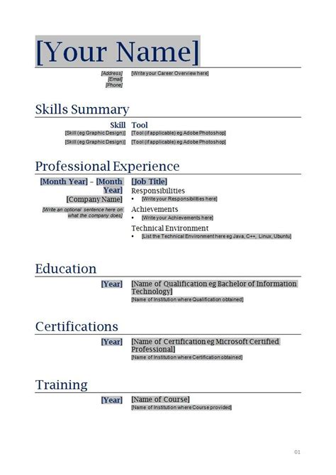 Free Blank Resume Templates by Free Blanks Resumes Templates Posts Related To Free