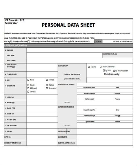 personal data sheet template 27 sheet templates in excel free premium templates