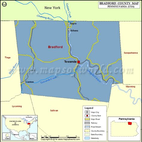 the seat towanda pa bradford county map pennsylvania