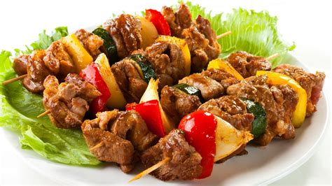 Lunch Animals Skewer kebab on bed of lettuce android wallpapers for free