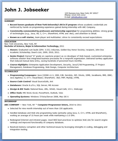 Resume Cover Letter Exles Programmer Sle Computer Programmer Resume Entry Level Resume Downloads