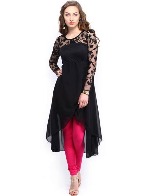 black and white kurti patterns buy black embroidered lace poly chiffon with viscose