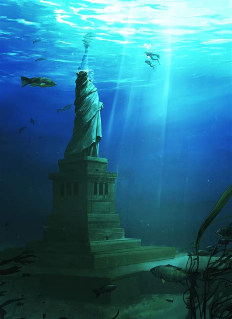new year 2012 water image of day the statue of liberty underwater