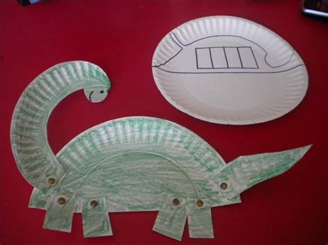Paper Dinosaur Craft - paper plate dinosaur dinosaurs