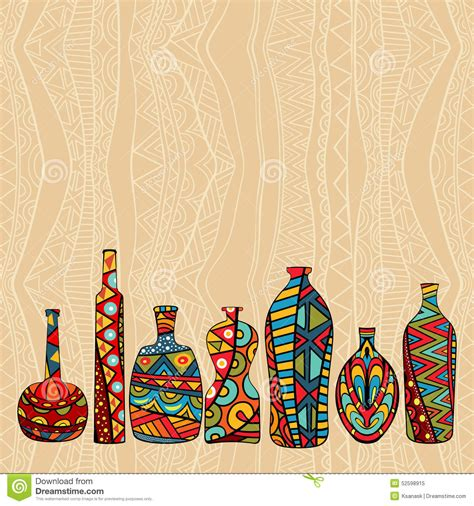 Ethnic Styles Kyushu Tea Set by Ethnic Background With Fancy Bottles Stock Vector Image