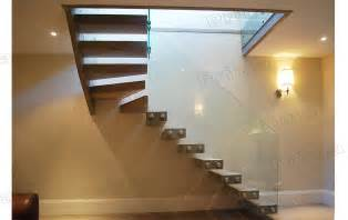 interior glass railing wood stair kit cantilever stairs