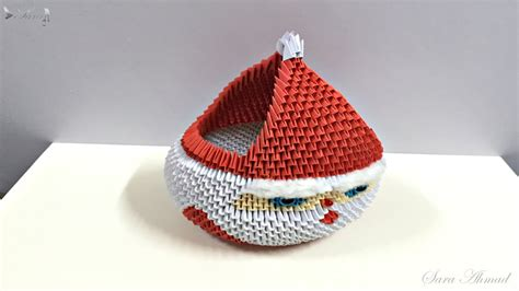 3d Origami Santa - how to make 3d origami basket santa claus