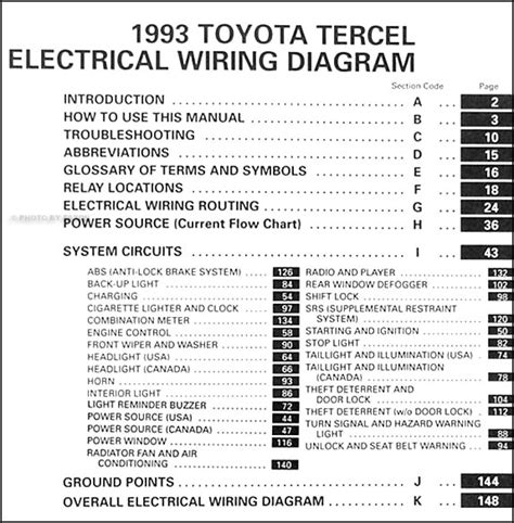 1993 toyota tercel wiring diagram manual original