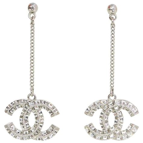 chanel pave cc drop pierced earrings for sale at