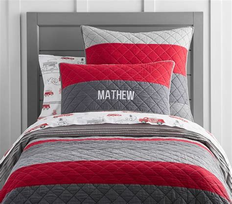 quilted comforters block stripe quilted bedding pottery barn kids