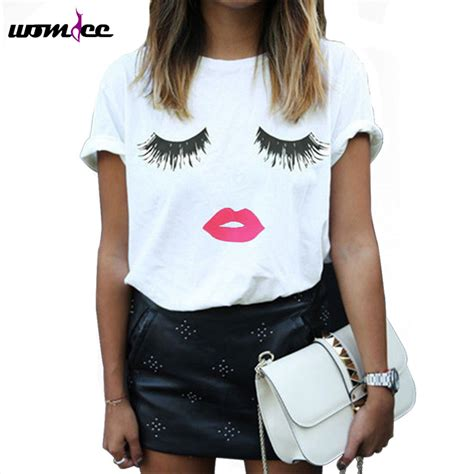 tshirt anti eye shirt eyelashes printed summer sleeve