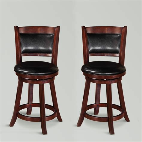 Cecil 2 Pcs 24 Quot H Swivel Dining Counter Height Stools Upholstered Swivel Dining Chairs