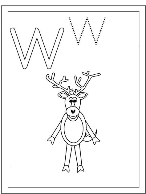 imagenes de animales por la letra w letra w wapiti dibujalia dibujos para colorear