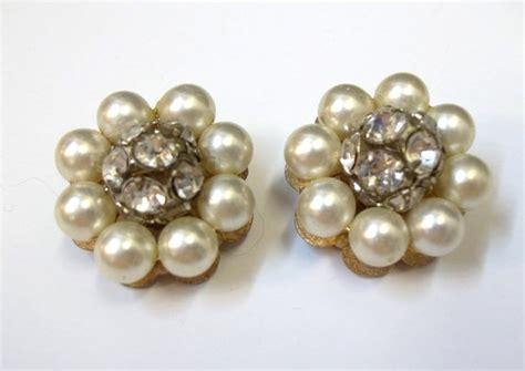 Wedding Clip On Pearl Earrings by Vintage Ivory Pearl Rhinestone Earrings Clip On Rhinestone
