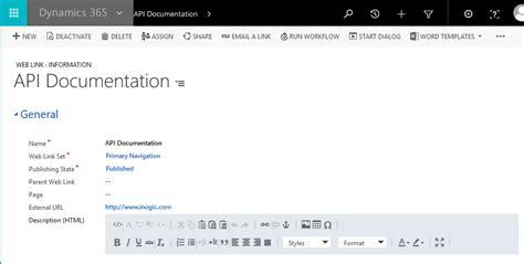 api documentation template hide external links in microsoft dynamics crm portal