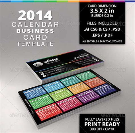 Business Card Calendar