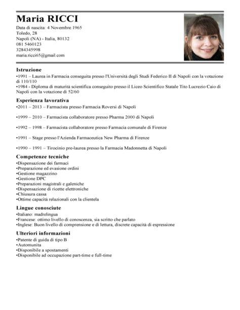 esempi di lettere personali modello curriculum vitae farmacista esempio cv farmacia