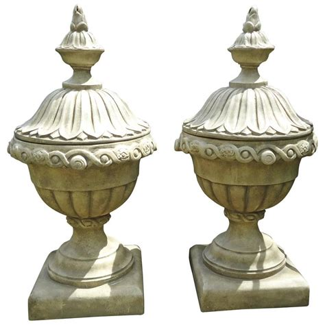 Faux Planters Urns pair of faux concrete italian urn planters with lids at