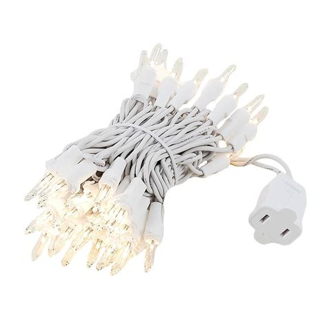 clear christmas mini light set 50 light white wire 11 feet