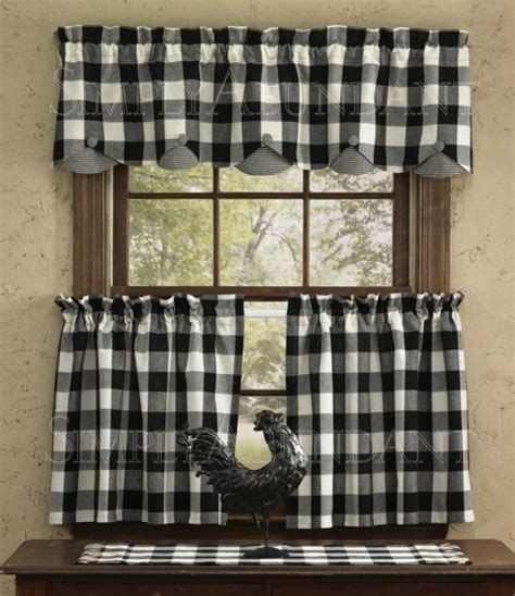 black checkered curtains checkered kitchen curtains black 3 kitchen curtain set