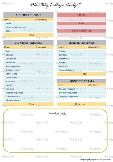 monthly financial planner template monthly college budget planner financial organizer by