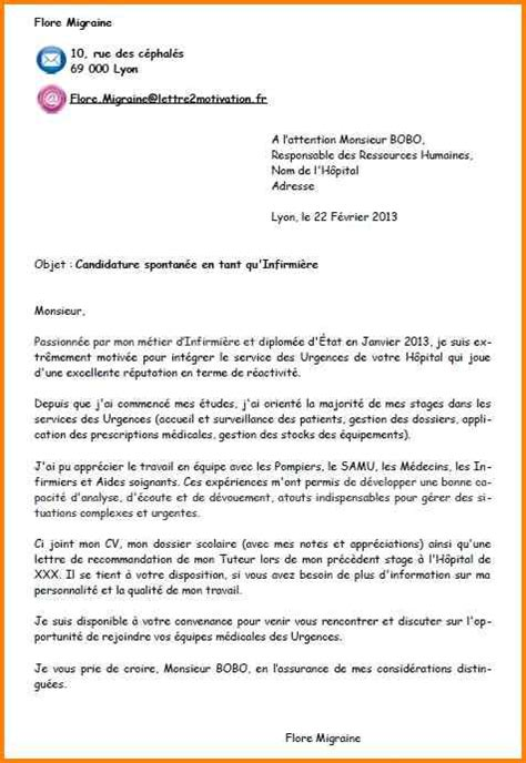 Exemple Lettre De Motivation Candidature Spontanée Infirmier 8 Exemple De Lettre De Motivation Spontan 233 E Format Lettre