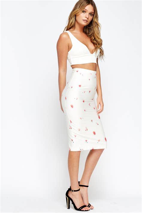 blossom flower white midi bodycon skirt just 163 5