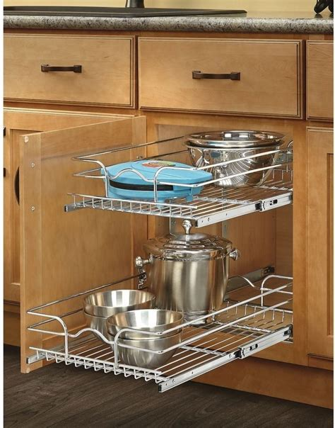 sliding cabinet organizers kitchen pull out metal shelves sliding cabinet basket kitchen pot