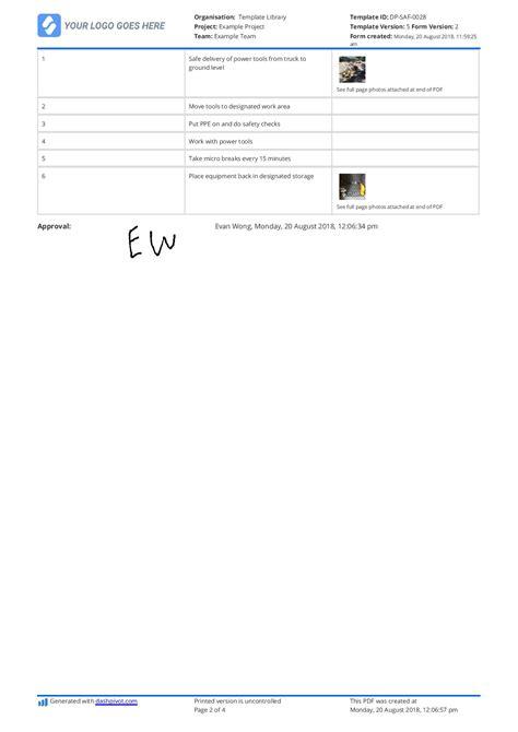 work procedures template safe work procedure template swp template use it free here