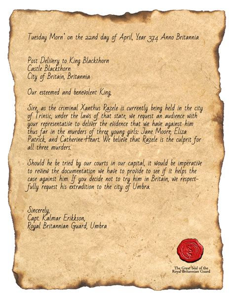 up letter to the king a letter sent to the king in regards to razele