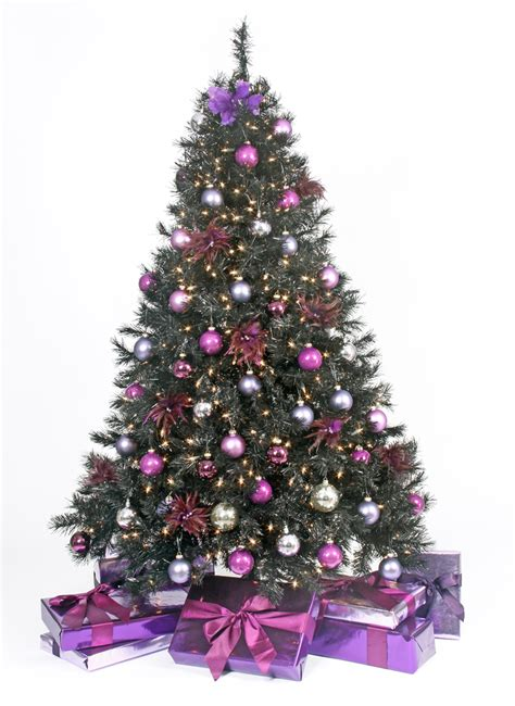 purple christmas trees decorated happy holidays