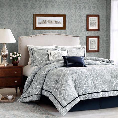 Navy Paisley Comforter Set Bedding Luciano Comforter Set Navy Blue Paisley Design With Eye Catching Border Pleated Bedskirt