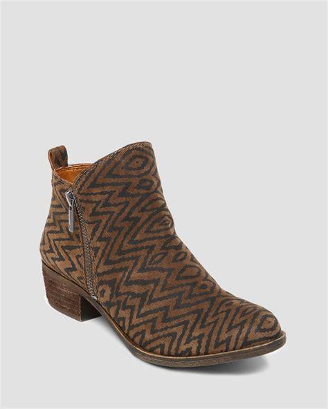 lucky s boots lyst lucky brand booties basel zipper in brown