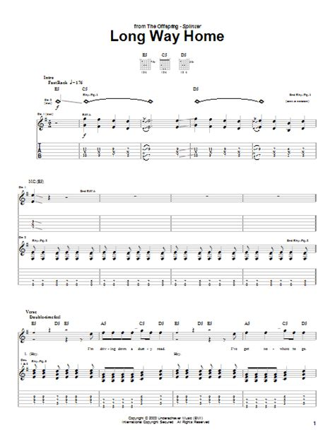way home by the offspring guitar tab guitar