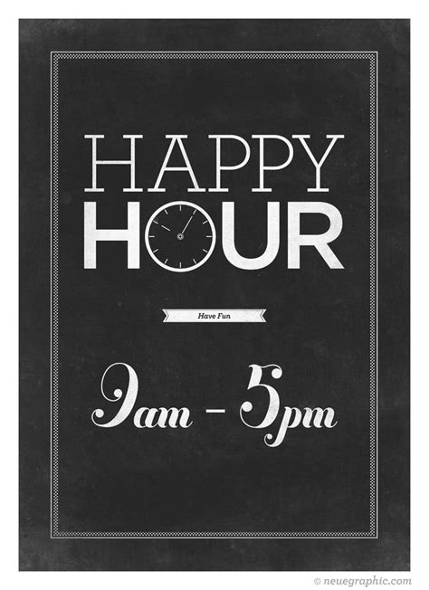 retro style typography poster happy hour typo art