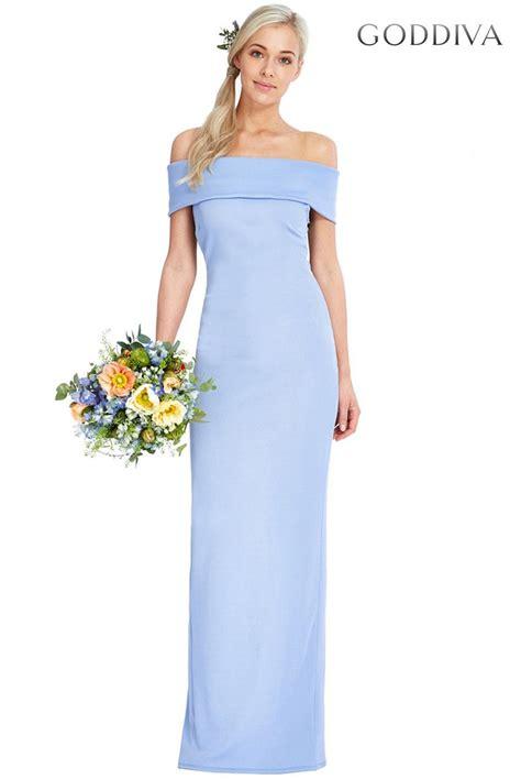 Id 0027 Blue Bodycon Dress goddiva blue bardot neckline maxi dress bridesmaids