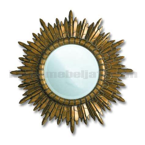 Cermin Jati Matahari cermin hiasan dinding ukiran motif matahari
