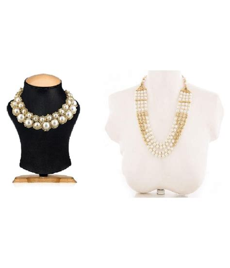 S F Sf6182qz Necklace Offwhite shilpihandicrafts white necklace set combo buy